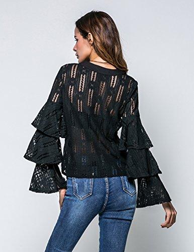 M-Queen Damen Langarm Shirt Bluse Oberteil Transparent Tüll Mesh Blusenbody Zerzaust T-shirt Rundhals Tunika Tops Schwarz