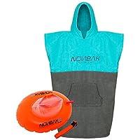 Nonbak poncho LIGHT con capucha y bolsillo + boya natación donut promoción -changing robe and drybag- (Poncho + boya donut, S/M (Small/Medium))