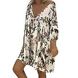 MRULIC Damen Floral Bedrucktes Langärmliges Maxikleid mit V-Ausschnitt Casual Baggy Kaftan Long Dress(Weiß,EU-48/CN-5XL)
