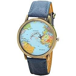 Mini World Unisex Watch World Map Moving Aeroplane Second Hand Analogue Quartz Bronze/Blue