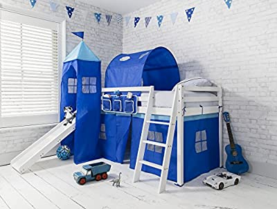 Cabin Bed midsleeper Bunk kids bed with Slide + Blue Tent , Tower & Tunnel