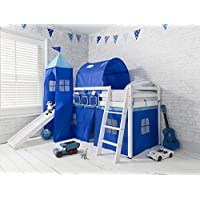 Noa and Nani - Midsleeper Cabin Bed with Slide and Blue Tent, Tunnel and Tower - (White)