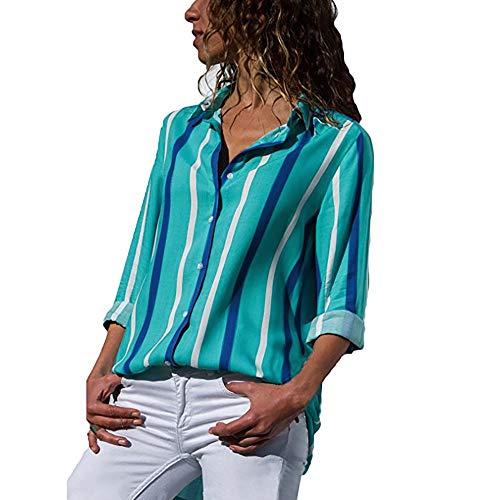 (MYMYG Damen Blusen Streifen v Ausschnitt Hemd Oberteile Langarmshirts Blusen Casual Sommer Langarm mit Knopf Tunika (G1-Grün,EU:40/CN-M)