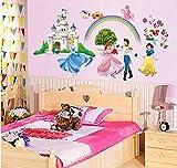 ufengke® Prinzessin Schloss Prinzessin und Prinz Wandsticker, Kinderzimmer Babyzimmer Entfernbare Wandtattoos Wandbilder