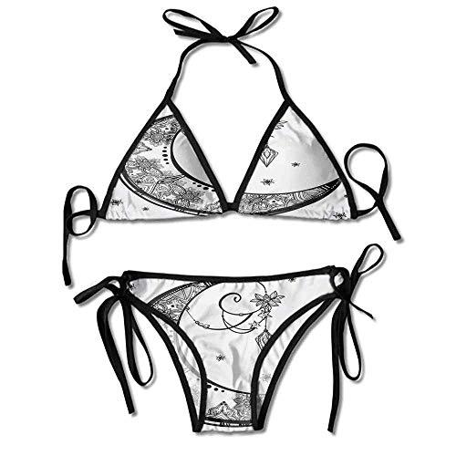 Swimsuit Bikini for Women Moon Crescent Gem Figures Ethnic Printing Bikini - Gem Thong Sandal