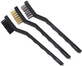 Hojo Insasta Generic Mini Wire Brush Set Steel Brass Nylon Cleaning Polishing 7 Inch 3Pc Black