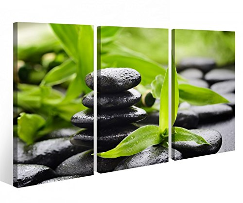 Leinwandbild 3 Tlg. Wellness Stein Yoga Bambus Massage Leinwand Bild Bilder auf Keilrahmen Holz - fertig gerahmt 9O790, 3 tlg BxH:90x60cm (3Stk 30x 60cm) - Massage Steinen Wellness