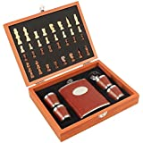 SHOPEE Branded 8oz Chess Wooden Box PU Leather Wrapped Stainless Steel 235 Ml, 1 Hip Flask / 4 Shot Glass / 1 Funnel Set - Black