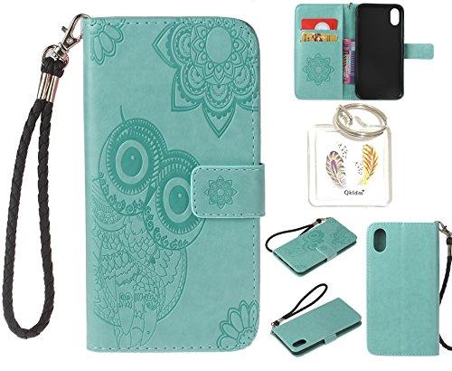 Preisvergleich Produktbild für iPhone X / iPhone 10 PU Leder Silikon Schutzhülle Handy case Book Style Portemonnaie Design für Apple Iphone iPhone X / iPhone 10 + Schlüsselanhänger ( YGV (3)