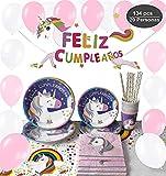 Decoraciones Unicornio y vajilla Rosa y Morado Unicorn Feliz Cumpleaños para niñas El Juego de 134 Piezas Incluye Platos, Vasos, Mantel, Servilletas,Guirnalda, Pajitas, y Globos para a 20 Personas