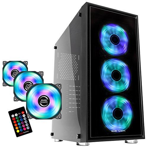 MARSGAMING BLM10, Pack Caja PC Ventiladores RGB y Kit 3 Ventiladores Hidráulicos