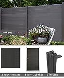 terrasso WPC/BPC Sichtschutzzaun Dark Grey 3 Zäune, 1 Torelement inkl. 5 Pfosten Sichtschutz Gartenzaun