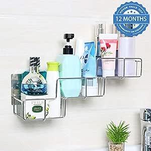 HOKIPO® Magic Sticker Series Self Adhesive Stainless Steel Bathroom Shelf (LT-82001)