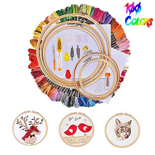 Huttoly Stickerei Set Kreuzstich Set Stickgarn Kit mit 5 Stück Bambus Stickrahmen,100 Farbe Fäden,12 von 18-Zoll 14 Count Classic Reserve Aida und Nadeln Set für Kreuzstich Stricken Nähgarne Stickerei -