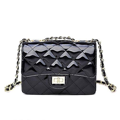 2018 Frauen Sommer Gelee Handtaschen Schultertasche Messenger Tote Bag Lingge Kette Mini Mode Geldbörse Klassische Abendtasche,Black-19*14*7cm (Schwarz Schaffell Gel)