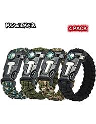 4 PACK Multifonctionnel Paracord Bracelet - Kiwiker Survival Gear Kit Avec Boussole Intégrée, Allume-Feu, Urgence Couteau & Whistle pour Randonnée Camping