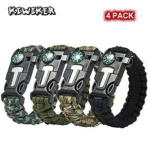 [4 Pack ] Paracord Braccialetto - Kiwiker Survival Kit Completo con Bussola Incorporata, Starter di fuoco, Emergenza Coltello & Whistle