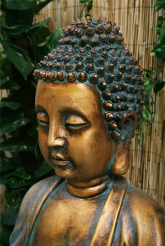 Fuente de Agua Buda Dorado Meditando. Con Luces LED y Esfera 4