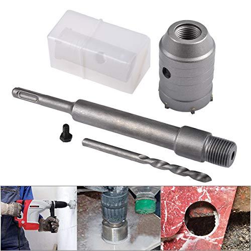 HOHXEN 60mm SDS Plus Lochsäge Betonbohrer Betonschneider für Betonzementstein + Schraubenschlüssel + Verbindungsstange + Bohrer
