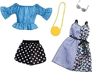 Mattel Fashionistas-Pack de 2 Modas, Ropa Barbie Estampado Lunares, Accesorios muñecas FXJ68