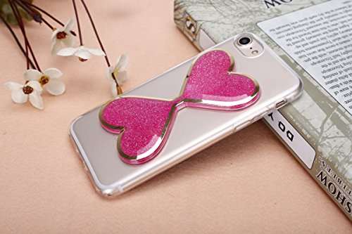 iPhone 7 Coque,Ultra-minces TPU Silicone Coque Pattern étui Pour iPhone 7,Housse Gel Transparent pour iPhone 7,Interne Liquide Fluide de Scintillement Mode [Hourglass Sablier Rose Motif] Case Cover de Forme de Coeur Rose