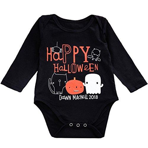 Anywow Kleinkind Baby Mädchen Jungen Cartoon Fröhliches Halloween Strampler Baumwolle Langen Ärmeln Säugling Bodys Einteiler 3-24M