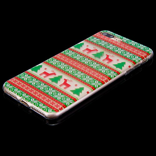 EUWLY Cover per iPhone 7 Plus/iPhone 8 Plus (5.5), EUWLY Custodia per iPhone 7 Plus/iPhone 8 Plus (5.5) Silicone Trasparente TPU Case Xmas Christmas Natale Flessibile Morbido Custodia Cover Ultra So Cervo Natale