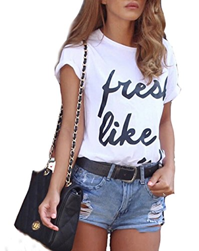 Jc.kube Damen Aufdruck T Shirt Tops Weiß03