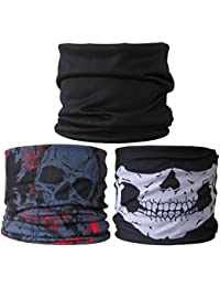 (3 PACK) Multifunctional Headwear...Plain Black / Grey Skulls + Red / Skull Jaw