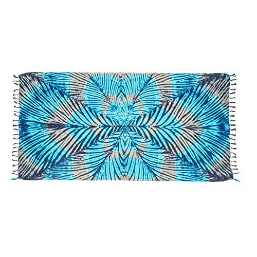 ManuMar Damen Sarong | Pareo Strandtuch | Leichtes Wickeltuch mit Fransen-Quasten (L: 115 x 225 cm, Grau Türkis Schwarz Mandala)