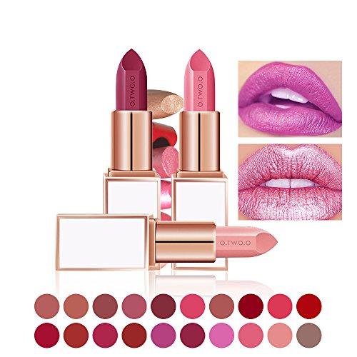 20 couleurs de rouge à lèvres brillant hydratant et métalique de chez O.TWO.O