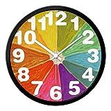 LWXTY Colores Naranjas Reloj de Pared,Redondo Cuarzo Silencioso sin Ruidos Creativo 2mm Transparente Vaso Textura Reloj de Pared-Amarillo-C 30.5cm