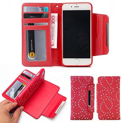 JIALUN-Telefon Fall PU-lederner Kasten 2 in 1 abnehmbare Mappen-Kasten-Abdeckung mit Kartenschlitzen u. Magnetischer Klappe für iPhone 7 ( Color : Gold ) Red