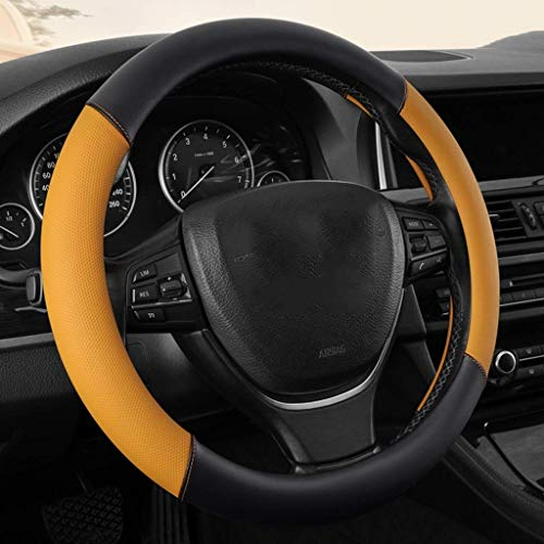 LLAMN Steering Copertura del Volante dell'automobile del Cuoio della Copertura di Rotella-Microfibra, Traspirante Universale Antiscivolo Auto sterzo Copricerchi (Color : A)