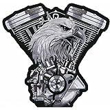 Águila V-Twin hierro bordado coser en parches motorista 10,16 cm x 10,16 cm