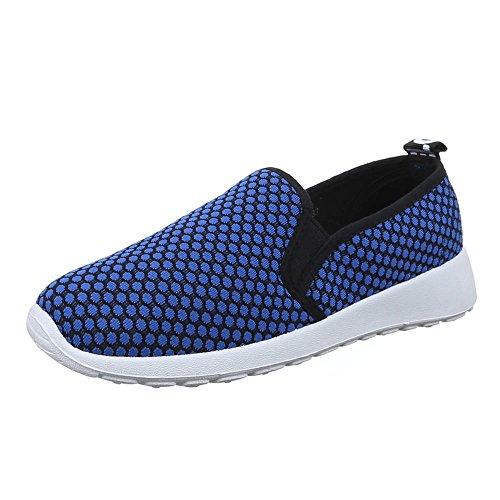 Damen Schuhe, C20-4, HALBSCHUHE SLIPPER FREIZEITSCHUHE Blau