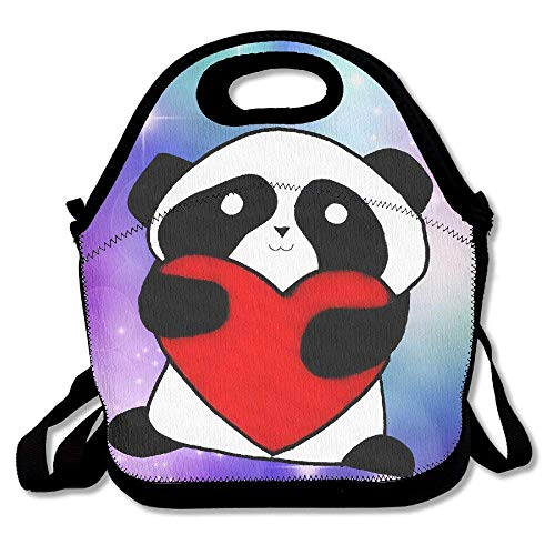 fengxutongxue I Love Panda Insulated Lunch Bag with Zipper,Carry Handle and Shoulder Strap for Adults Or Kids Black