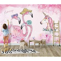 Qingany Fond D'Écran Décoration Murale Mur De La Chambre des Enfants Personnalisés 3D Papier Peint Flamant Rose Licorne Salon Chambre Fond D'Écran 3D 400 * 280 Cm