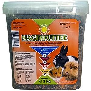 Nagerfutter, Futter für alle Nager - 3kg - Leckeres Hauptfutter für Zwergkaninchen, Meerschweinchen und Hamster