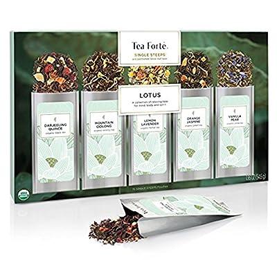 Tea Forte BOÎTE D'ÉCHANTILLONS Lotus de sachets d'infusions à usage unique, boîte d'assortiment de thés, 15 sachets individuels - Thé noir, thé vert, thé Oolong, thé blanc, tisane