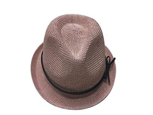 ACVIP Femme Chapeau Fedora Trilby Mignon Fille Neuf Accessoire de Soleil Voyage Vacances Rose