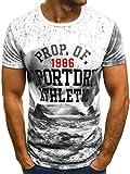 OZONEE Mix Herren T-Shirt Aufdruck mit Motiv Kurzarm Rundhals Figurbetont JS/SS365 WEIß L