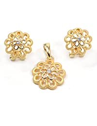 Silvestoo India Cubic Zirconia Gold Plated Pendant & Earring Set For Women & Girls PG-113133