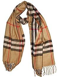 large Soft designer check style soft Plaid scarf shawl (Beige)