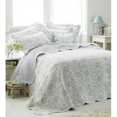 Paoletti Etoille Toile De Jouy Cotton Quilted Bedspread, White/Blue, Single