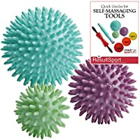 ResultSport® Pack of 3 - Spiky Massage Balls Stress Reflexology - 6cm, 8cm, 10cm - Trigger Point Massage - Myofasical Ball, Exercise Ball, Lacrosse Ball, Environmental Friendly plastic, PAH and Phthalates Free