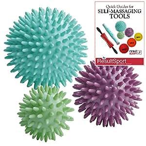 ResultSport® Pack de 3 - Spiky boules de massage Stress Réflexologie - 6cm, 8cm, 10cm - Trigger Point Massage - plastique favorable à l'environnement - PAH et Phtalates gratuit