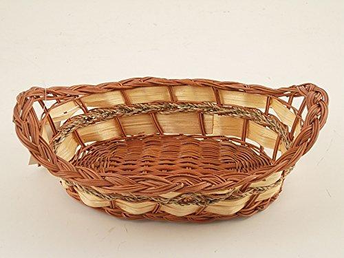porta pane ovale in felce con manico rialzato e fascia in corda 29x22x7cm