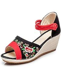 Mary Jane Leinwand Phoenix Bestickt Frauen Weiche Sohle Chinesische Schuhe Casual Wohnungen (EU 39, Rot) CHNHIRA