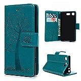 """YOKIRIN Lederh�lle Schutzh�lle f�r Sony Xperia XZ1 Compact(4.6"""") Wallet Case Flipcase Eule Baum PU Leder Handyh�lle Folio Handytasche Brieftasche St�nder Kartenfach Magnetisch Handycase Blau Bild"""